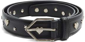 SAINT LAURENT Heart and star embellished leather belt
