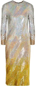 Ashish Sequined Silk-georgette Midi Dress - Silver