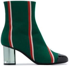 Marco De Vincenzo Striped Wool Ankle Boots with Metal Heel