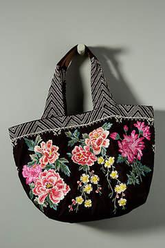Anthropologie Floral Embroidered Velvet Tote Bag