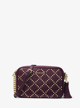 Michael Kors Ginny Grommeted Leather Crossbody - PURPLE - STYLE