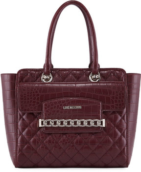 Love Moschino Croc-Embossed Faux-Leather Quilted Tote Bag