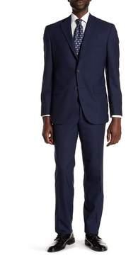 David Donahue Blue Jacquard Two Button Notch Lapel Wool Classic Fit Suit
