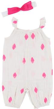 Billieblush Sleeveless Diamond-Print Romper, Size 6-18 Months