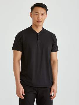 Frank and Oak drirelease Crewneck Bomber Polo T-Shirt in Black