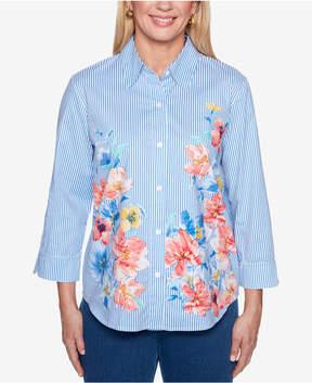 Alfred Dunner Sun City 3/4-Sleeve Mixed-Print Shirt