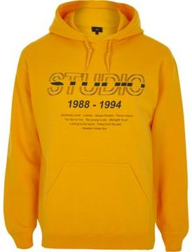 River Island Mens Yellow 'studio' print hoodie