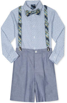 Nautica 4-Pc. Bow Tie, Shirt, Suspenders & Chambray Shorts Set, Little Boys