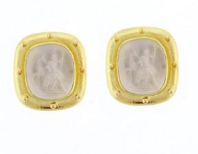 Elizabeth Locke 19K Yellow Gold Hera Venetian Glass Mother-of-Pearl Intaglio Gold Earrings
