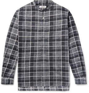 Nonnative Farmer Grandad-Collar Checked Slub Cotton-Flannel Shirt