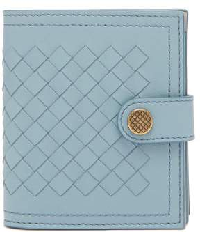 Bottega Veneta Intrecciato Leather Wallet - Womens - Light Blue