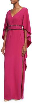 Escada Cape-Sleeve Jewel-Trim Gown, Magenta