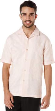 Cubavera Linen Cotton Short Sleeve Slub Placed Leaf Embroidered Shirt