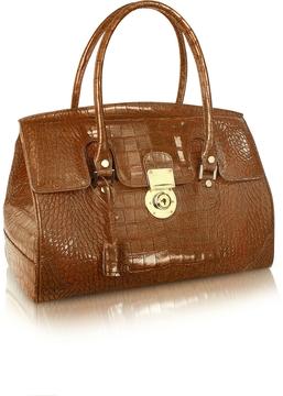 L.A.P.A. Camel Croco Stamped Genuine Leather Satchel Bag