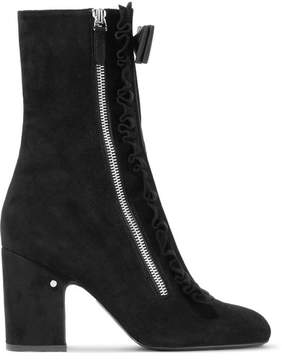 Laurence Dacade Patty Ruffled Bow-embellished Suede Ankle Boots - Black