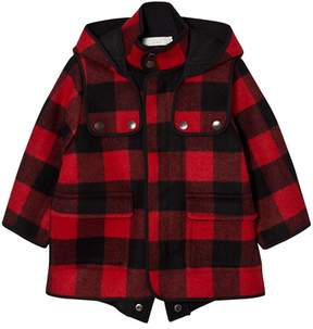 Stella McCartney Red Check Hooded Coat