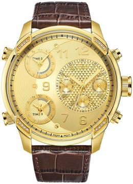 JBW G4 Gold-Tone Dial Three Time Zone Diamond Men's Watch