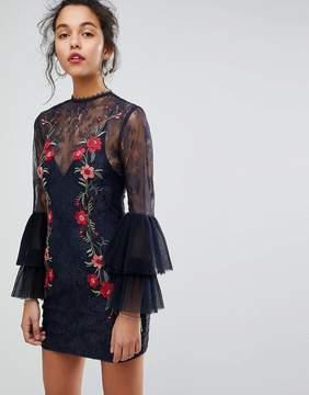Keepsake Embroidered Lace Mini Dress