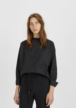 Atlantique Ascoli Cotton Poplin Blouse Black Size: 0