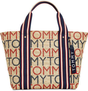 Tommy Hilfiger Camden Printed Logo Straw Tote