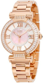 Burgi Mother of Pearl Dial Rose Gold-tone Bracelet Ladies Watch