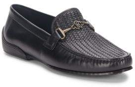 Roberto Cavalli Woven Paneled-Leather Loafers