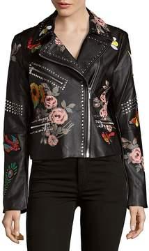Bagatelle Women's Studded Floral Moto Jacket