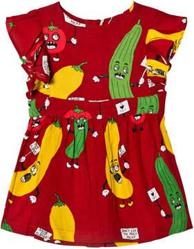 Mini Rodini Red Veggie Woven Ruffle Dress