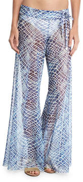 Letarte Printed Flared Sheer Mesh Pants