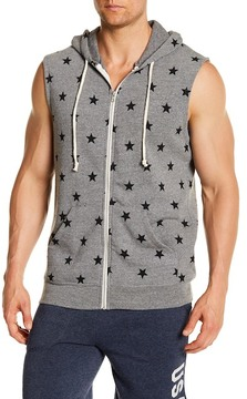 Alternative Star Print Sleeveless Fleece Hoodie