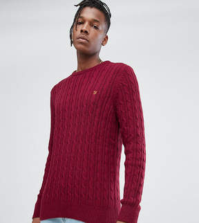 Farah Ludwig Cable Knit Sweater in Red