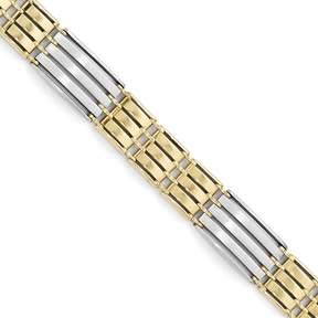 Ice 14k Two-tone Polished Brushed Link Mens Bracelet