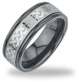 Armani Exchange Jewelry Tungsten Black Ceramic Mens Laser-etched Band Ring.