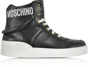 Moschino Black Nappa Leather High Top Sneakers