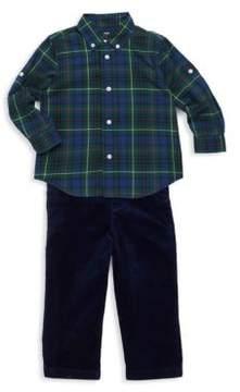 Ralph Lauren Boy's Three-Piece Tartan Poplin Shirt, Pants And Belt Set
