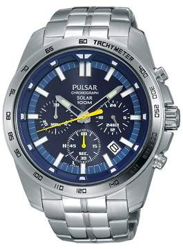 Pulsar Men's Solar Chronograph - Silver Tone with Blue Dial PZ5001