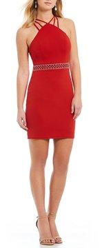 B. Darlin Multi-Strap Y-Neck Sheath Dress