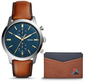 Fossil Townsman 44mm Chronograph Brown Leather Watch and Wallet Box Set