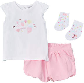 Absorba Girls' 3Pc Shirt, Short, & Sock Set