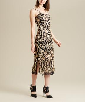 Bebe Gold Floral Side-Slit Sleeveless Dress