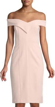 Eliza J Off-The-Shoulder Crepe Sheath Dress