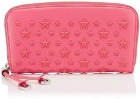 Jimmy Choo FILIPA Flamingo Leather Wallet with Enamel Stars