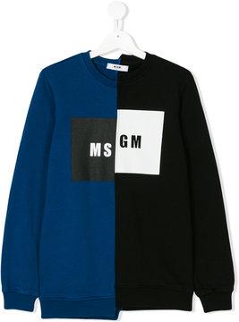 MSGM asymmetric logo print sweatshirt