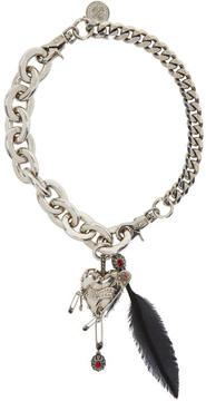 Alexander McQueen Silver Heart and Feather Chain Choker