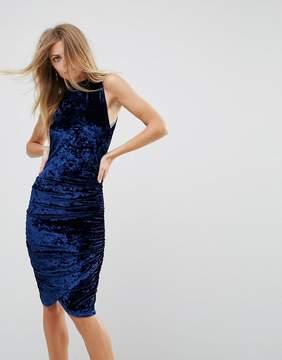 AX Paris Ruched Crushed Velvet Midi Dress