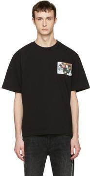 MSGM Black Floral Patch T-Shirt