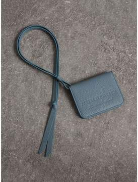 Burberry Embossed Leather ID Card Case Charm - DUSTY TEAL BLUE - STYLE