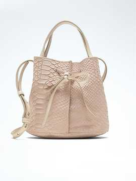 Leather Bow Bucket Bag