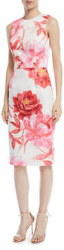 David Meister Large-Scale Floral Sheath Dress