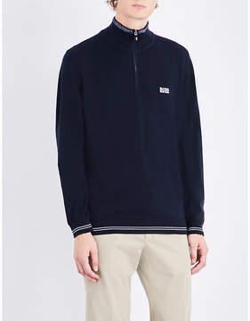 BOSS GREEN Striped-trim knitted sweatshirt